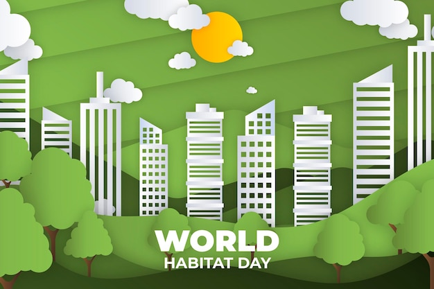 World habitat day in paper style