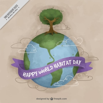 World habitat day watercolor background of world with tree