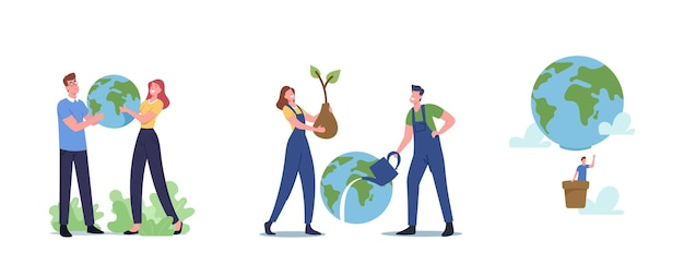 World in hands, save planet concept. male and female characters holding earth globe isolated on white background. ecology conservation, earth day celebration. cartoon people vector illustration