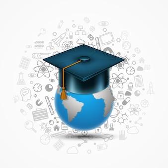 Знак искусства выпускника шляпы мира. векторная иллюстрация