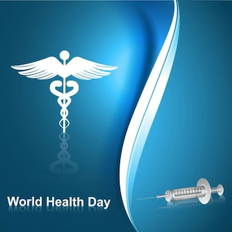World health day abstract background with symbol and syringe