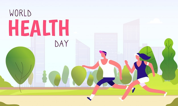 World health day background. healthy lifestyle man woman fitness fun runner healthcare global medicine holiday  concept