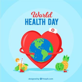 フラットスタイルの世界の健康の日の背景