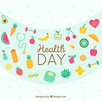 평면 스타일에 세계 건강의 날 배경