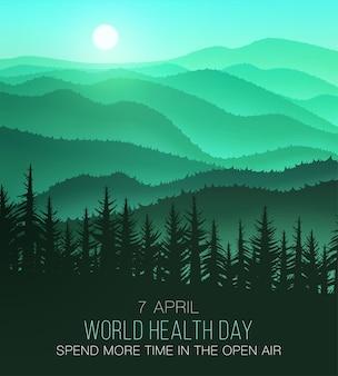 世界保健デー、美しい自然の背景。多くの場合、自然の中で時間を過ごし、健康になります