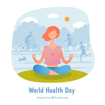 World health day background with person exercising