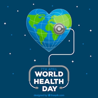 World health day background with stethoscope in flat style