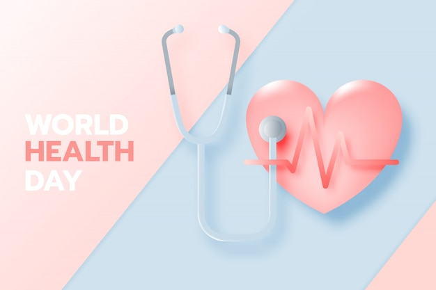 World health day banner in paper art style