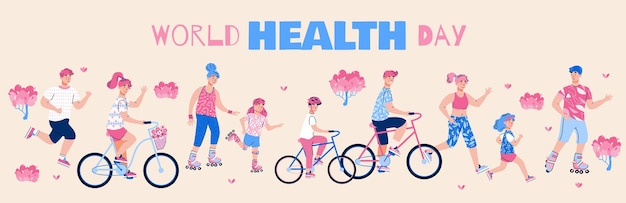 World health day banner with active cartoon people flat vector illustration