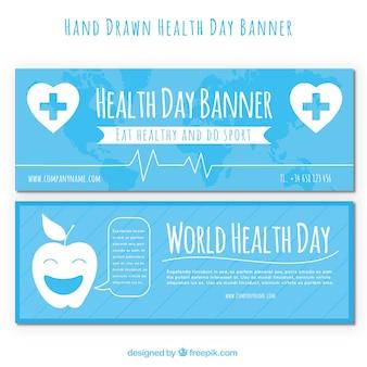 Mondo bandiere di giorno la salute con disegni