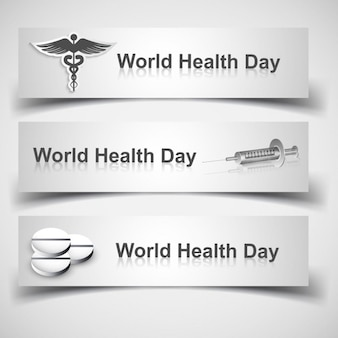 World health day banners with medical elements