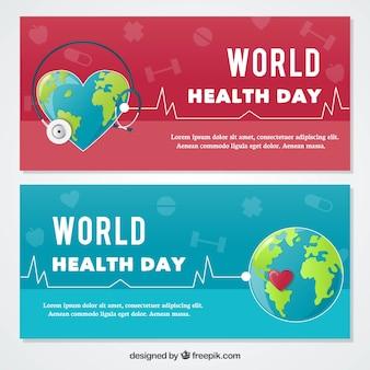 Mondo bandiere di giorno la salute