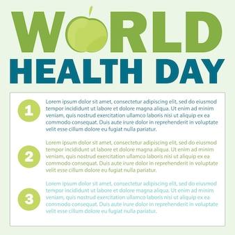 세계 보건의 날 카드입니다. 밝은 색 배경에 녹색 사과와 텍스트가 있는 벡터 그림. 안내판, 시간표 템플릿