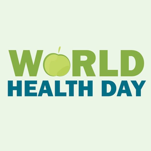 세계 보건의 날 카드입니다. 밝은 색 배경에 녹색 사과와 텍스트가 있는 벡터 일러스트 레이 션