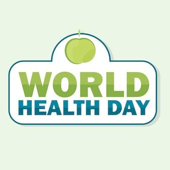 Карта всемирного дня здоровья. векторная иллюстрация с зеленым яблоком и текстом на светлом фоне