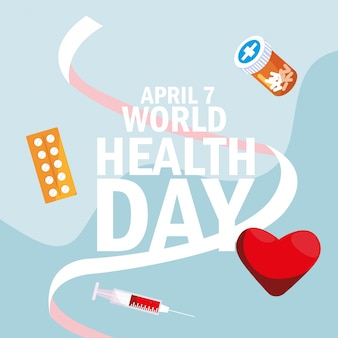 World health day card with bottle medicines and icons