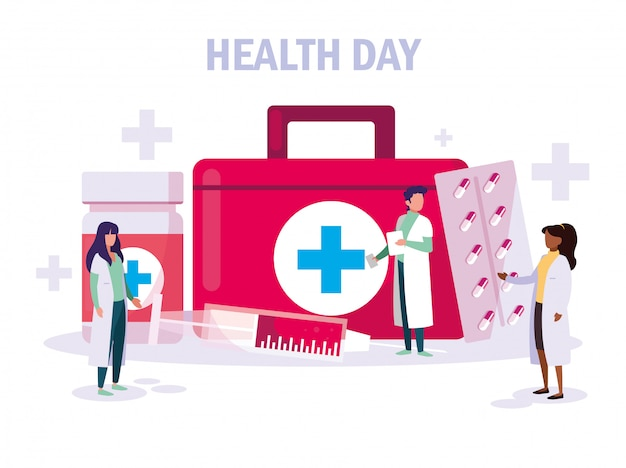 World health day card with doctors group and icons