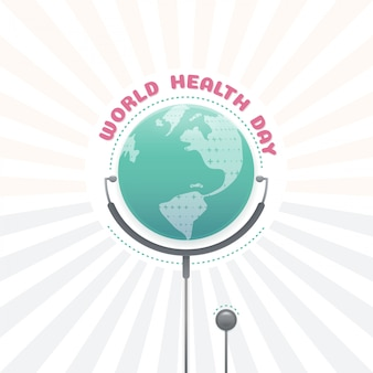 World health day concept, global health with stethoscope