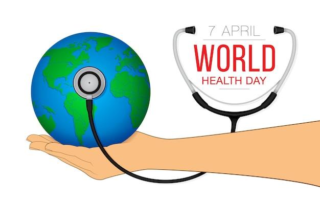 손에 글로브와 함께 세계 건강의 날 개념입니다.