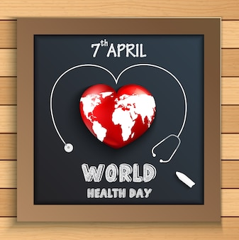 Концепция всемирного дня здоровья с глобусом внутри сердца