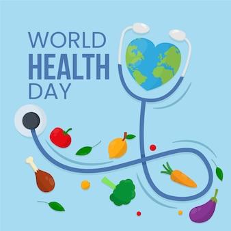 野菜と世界保健デーフラットデザインの背景