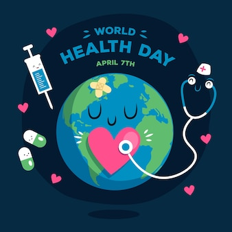 World health day flat design background