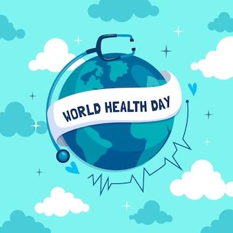 Всемирный день здоровья плоский дизайн обоев