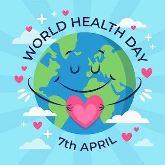 World health day hand drawn earth