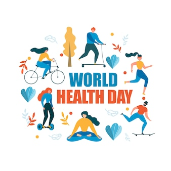 World health day healthy activity illustration