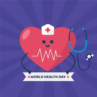 World health day and heart dressed as a nurse