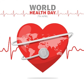World health day heartbeat of red heart