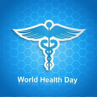 World health day hexagonal background with caduceus symbol