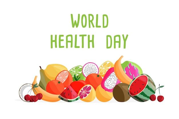 Шаблон горизонтального плаката всемирного дня здоровья с коллекцией свежих органических фруктов.
