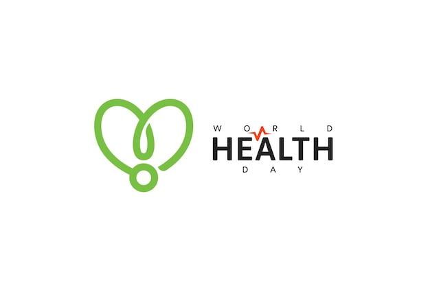 世界保健デーアイコングリーンリボン健康増進医療シンボルヘルスケアコンセプトデザイン