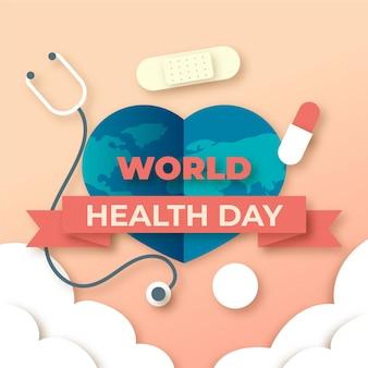 종이 스타일의 세계 보건의 날 그림