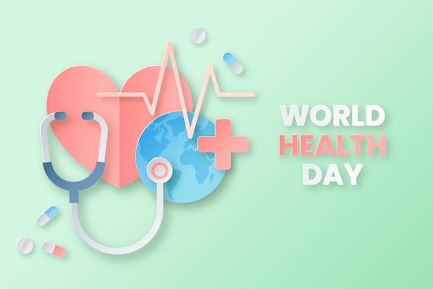 Иллюстрация всемирного дня здоровья в бумажном стиле