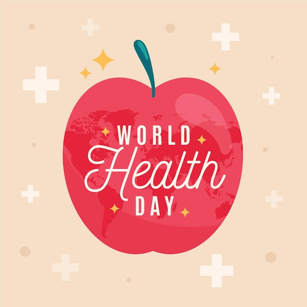 World health day illustration with apple