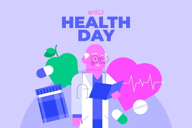 World health day illustration with doctor holding clipboard