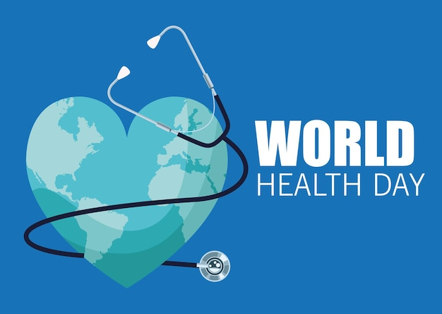 World health day illustration with earth heart and stethoscope vector illustration design
