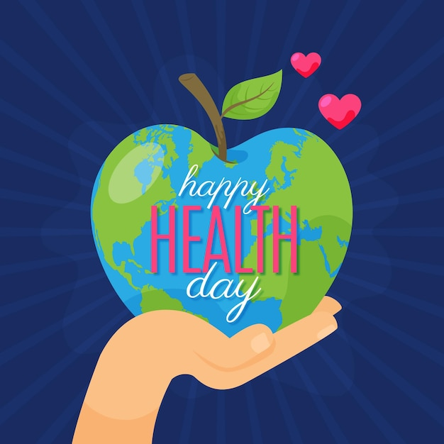 World health day illustration with hand holding apple shaped planet