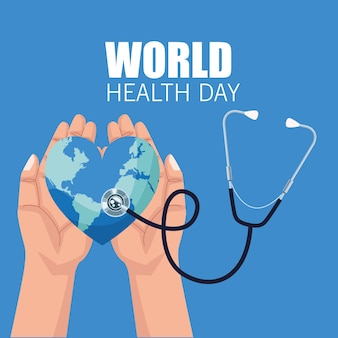 World health day illustration with hands lifting earth heart and stethoscope vector illustration design
