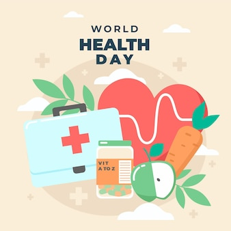 心臓と応急処置キットの世界保健デーのイラスト