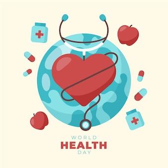 Иллюстрация всемирного дня здоровья с сердцем и планетой