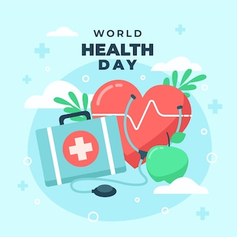 World health day illustration with heart and first aid kit