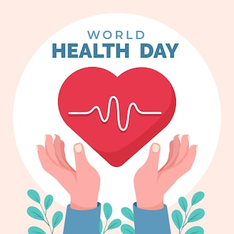 World health day illustration with heart and hands