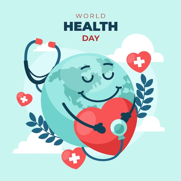 World health day illustration with heart and planet