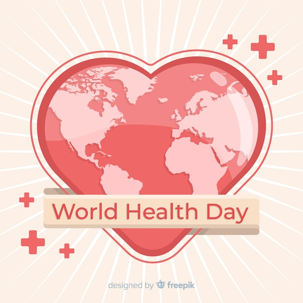 World health day illustration with heart-shaped