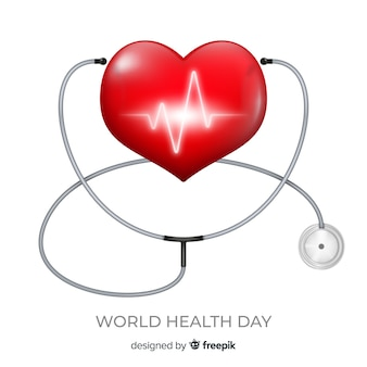 World health day illustration with heart and stethoscope