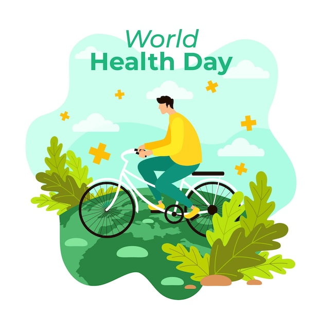 World health day illustration with man riding bicycle