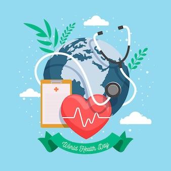 Иллюстрация всемирного дня здоровья с планетой и сердцем